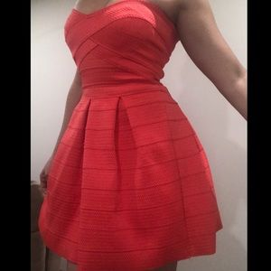 Express Coral Strapless MiniDress Sweetheart sizeS